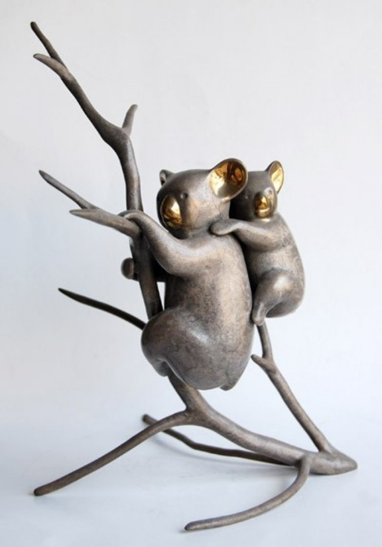 Koala And Baby Bronze Sculpture 1990 12 in Sculpture by Loet Vanderveen