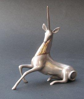 Unicorn Bronze Sculpture 2000 7 in Sculpture - Loet Vanderveen