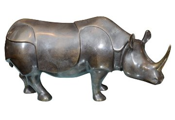 Imperial Rhino Bronze Sculpture 27 in Sculpture - Loet Vanderveen