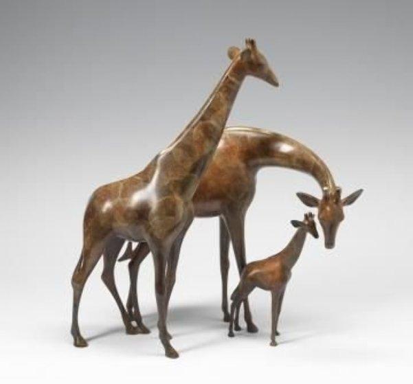 Giraffe Family Bronze Sculpture 21 in Sculpture by Loet Vanderveen