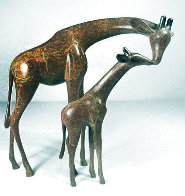 Giraffe And Baby Bronze Sculpture 1999 8 in Sculpture by Loet Vanderveen - 1