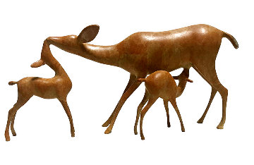 Doe and Fawns Bronze Sculpture 12 in Sculpture - Loet Vanderveen