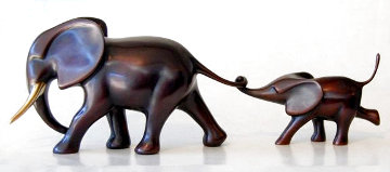 Elephant and Baby Running Bronze Sculpture 12 in Sculpture - Loet Vanderveen