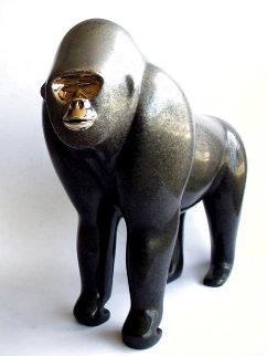 Silverback Gorilla Bronze Sculpture AP 14 in Sculpture - Loet Vanderveen