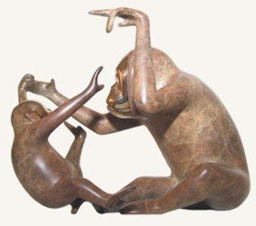 Orangutan and Baby Bronze Sculpture Sculpture by Loet Vanderveen
