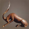 Stretching Gazelle Bronze Sculpture AP 14 in Sculpture by Loet Vanderveen - 0