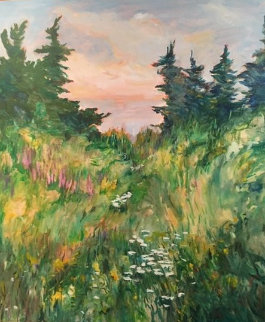 Untitled Canadian Landscape 1988 56x47 Original Painting - Jack  Vander Wal