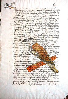 Bird on Parchment 2002 13x10 Original Painting - Marc Van Krinkelveldt