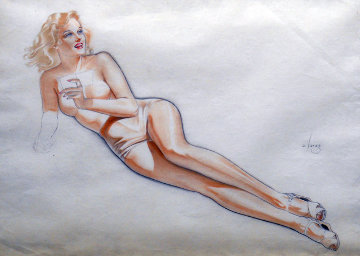 Topless Blonde Holding Mirror 1945 Watercolor - Alberto Vargas