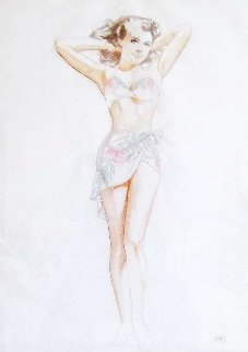 Island Girl Watercolor and Pencil 1950 36x30 Works on Paper (not prints) - Alberto Vargas