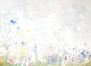 Untitled (Flowers) 32x42 Original Painting - Eda Varricchio