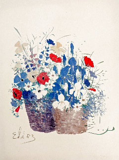 Double Baskets/Mixed Bouquet 1980 Limited Edition Print - Eda Varricchio