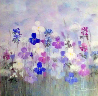 Field of Flowers 1983 31x32 Original Painting - Eda Varricchio