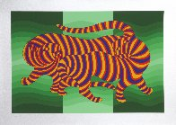 Two Tigers (Green) 1980 Limited Edition Print by Victor Vasarely - 1