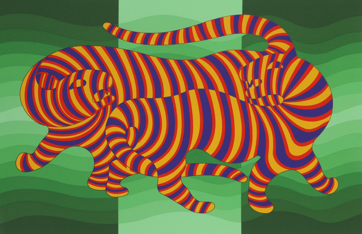 Two Tigers (Green) 1980 Limited Edition Print by Victor Vasarely
