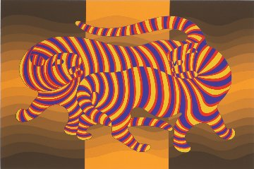 Two Tigers on Gold 1980 Limited Edition Print by Victor Vasarely