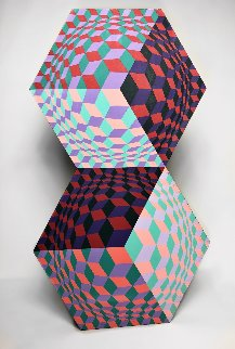 Kettes Wood Sculpture 1984 27x16 Sculpture - Victor Vasarely