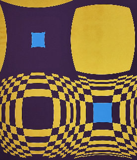 Mi-Ta (Purple and Gold) 1970 Limited Edition Print - Victor Vasarely