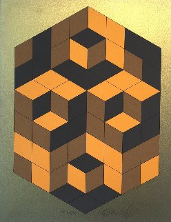 Composition Gold 1980 Limited Edition Print by Victor Vasarely