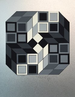 Composition Silver 1980 Limited Edition Print - Victor Vasarely