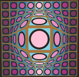 Untitled #8 (Pink and Turquoise Sphere) Limited Edition Print by Victor Vasarely