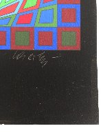 Untitled #4 (Black With Green Square in Center) 1980 Limited Edition Print by Victor Vasarely - 2
