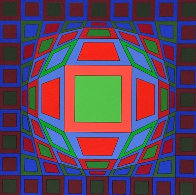 Untitled #4 (Black With Green Square in Center) 1980 Limited Edition Print by Victor Vasarely - 0