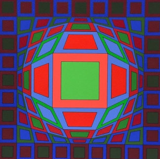 Untitled #4 (Black With Green Square in Center) 1980 Limited Edition Print - Victor Vasarely
