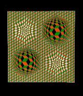 Untitled #6 (2 Black Spheres With Green And Gray) 1970 Limited Edition Print by Victor Vasarely - 1