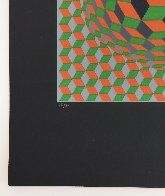 Untitled #6 (2 Black Spheres With Green And Gray) 1970 Limited Edition Print by Victor Vasarely - 2