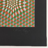 Untitled #6 (2 Black Spheres With Green And Gray) 1970 Limited Edition Print by Victor Vasarely - 3