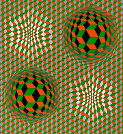 Untitled #6 (2 Black Spheres With Green And Gray) 1970 Limited Edition Print by Victor Vasarely - 0