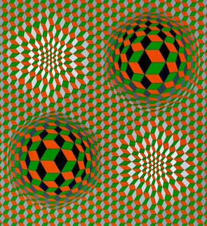 Untitled #6 (2 Black Spheres With Green And Gray) 1970 Limited Edition Print by Victor Vasarely