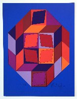 Untitled #7 (Blue, Red And Purple) Limited Edition Print by Victor Vasarely - 0