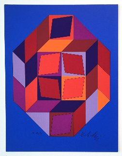 Untitled #7 (Blue, Red And Purple) Limited Edition Print by Victor Vasarely