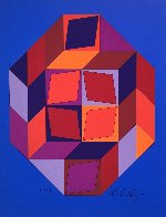 Untitled #7 (Blue, Red And Purple) Limited Edition Print by Victor Vasarely - 4