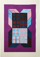 Untitled - Mauve 1985 37x25 HS Works on Paper (not prints) by Victor Vasarely - 1