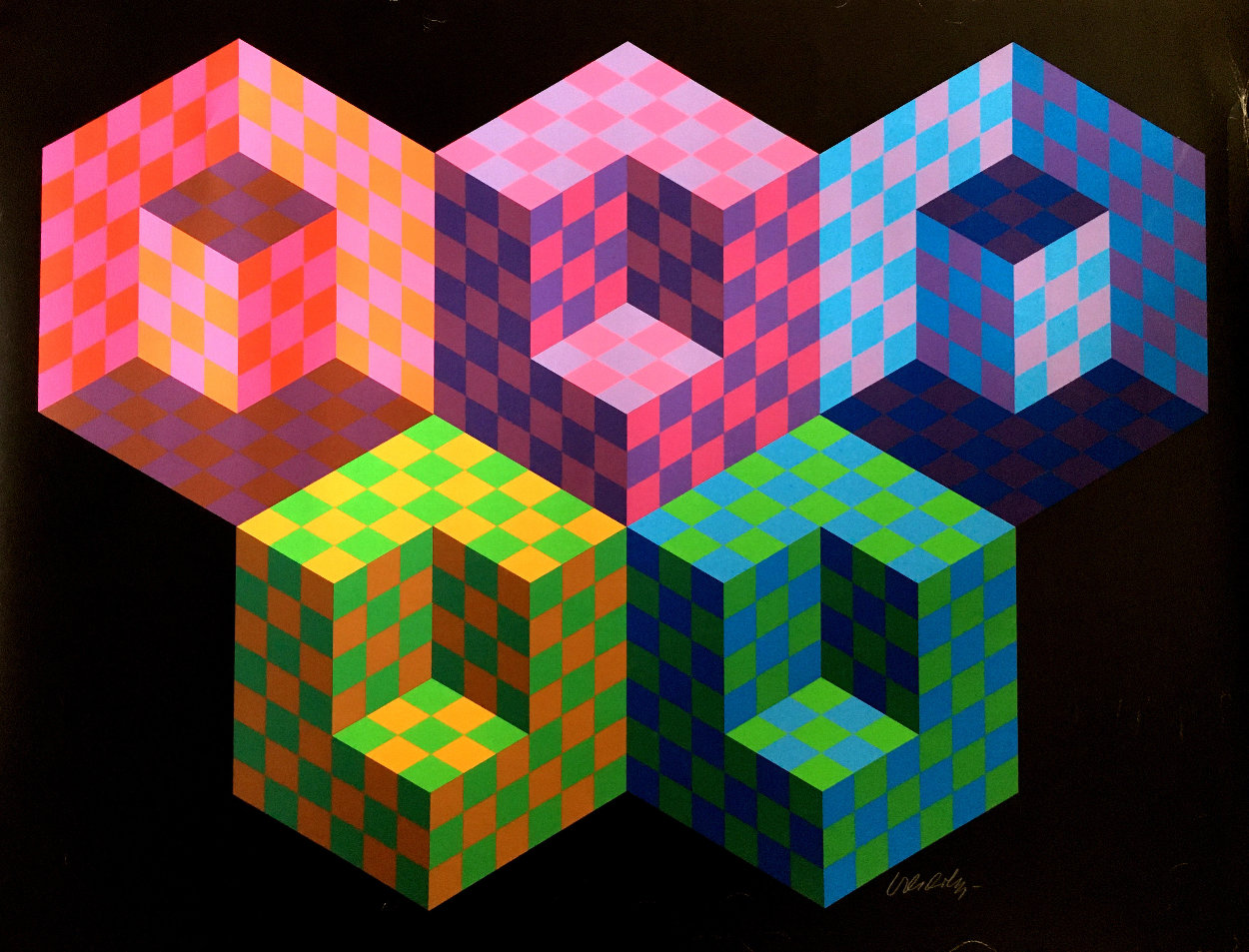 Hexa 5 EA 1988 Limited Edition Print by Victor Vasarely