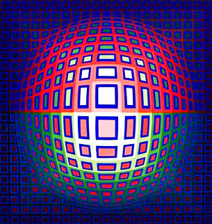 Pink Composition 1980 Limited Edition Print - Victor Vasarely