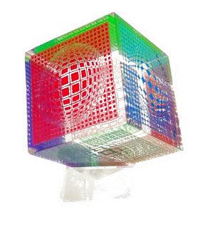 Oltar Zoelo Acrylic Glass Sculpture 1970 7 in Sculpture - Victor Vasarely