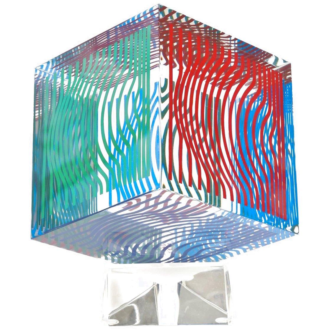 Oltar Zoelo II  Acrylic Glass Sculpture 1970 7 in Sculpture by Victor Vasarely