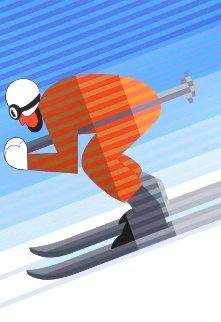 Downhill Skier 1984 Limited Edition Print - Victor Vasarely