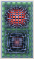 Composition in Green, Red And Violet Limited Edition Print by Victor Vasarely - 0