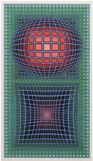 Composition in Green, Red And Violet Limited Edition Print by Victor Vasarely