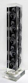 Zebra Tower Acrylic Sculpture 1990 24 in Sculpture - Victor Vasarely