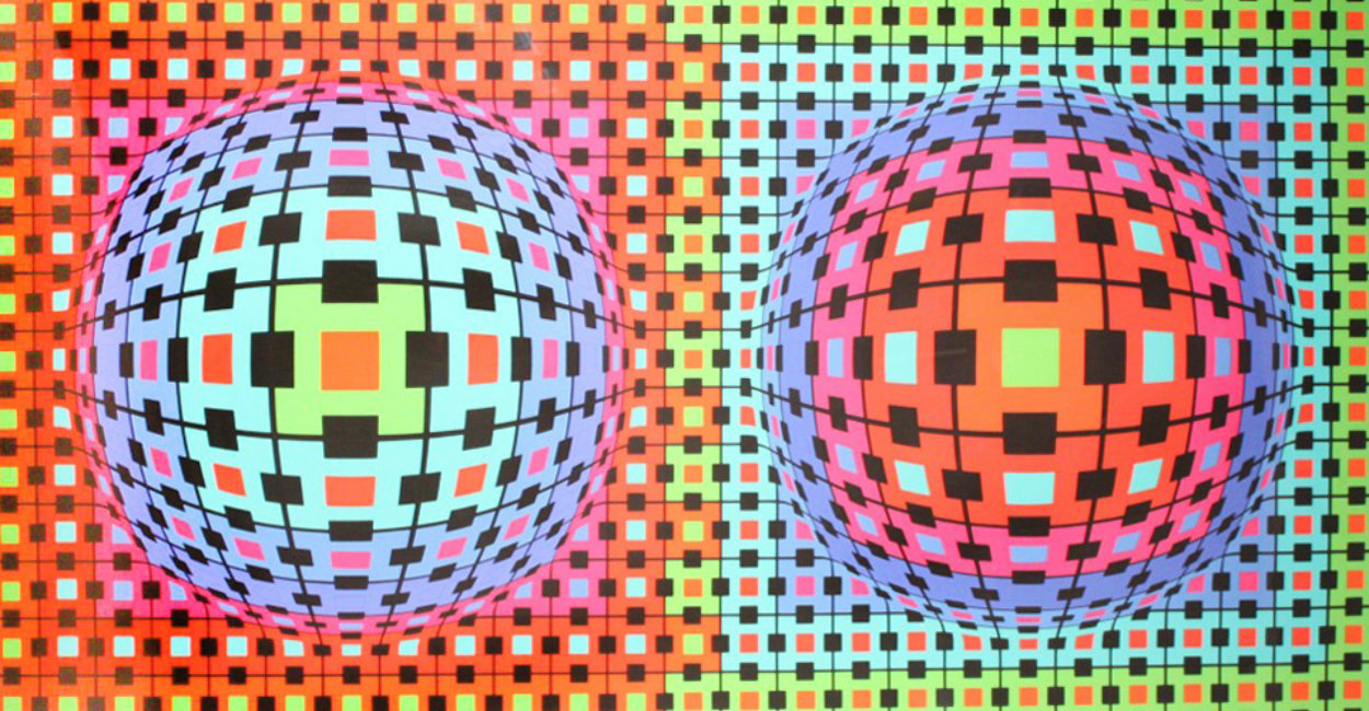 Composition Ionau 1987 72x40 Limited Edition Print by Victor Vasarely