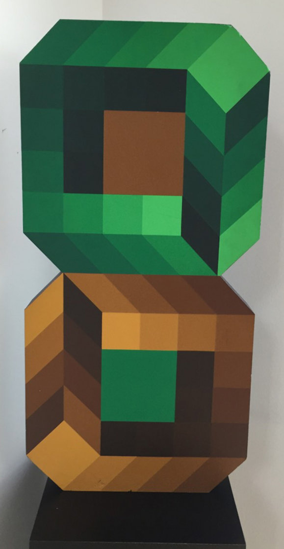 Figure 8 Wood Sculpture 1970's Sculpture by Victor Vasarely