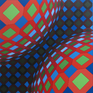 Bi-okta B (Composition in Red, White And Green) 1973 Limited Edition Print - Victor Vasarely