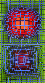 Composition in Green, Red And Violet 1980 Limited Edition Print by Victor Vasarely