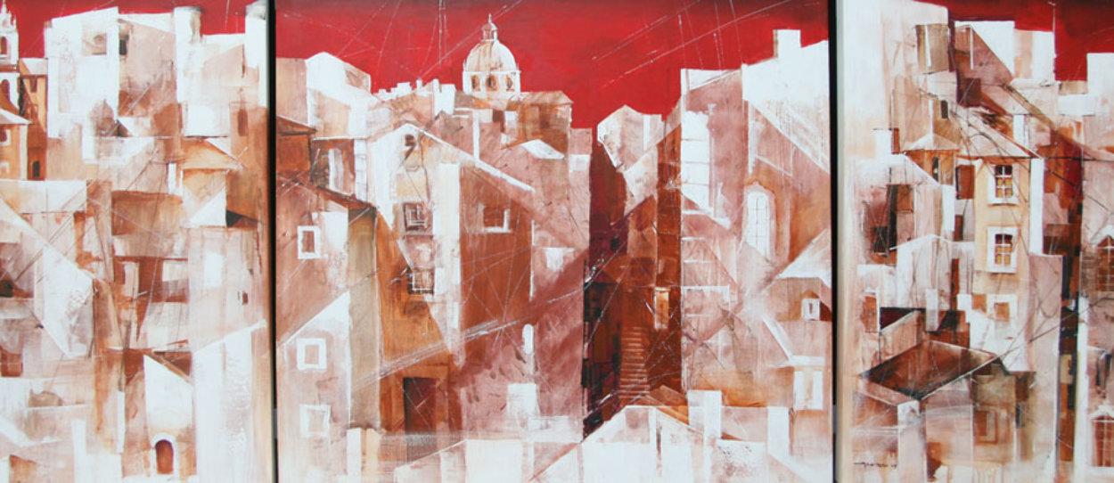 Lisbon Triptych 2004 Super Huge Original Painting by Valeriy Vaskov